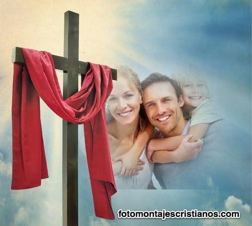 fotomontaje junto a la cruz de cristo