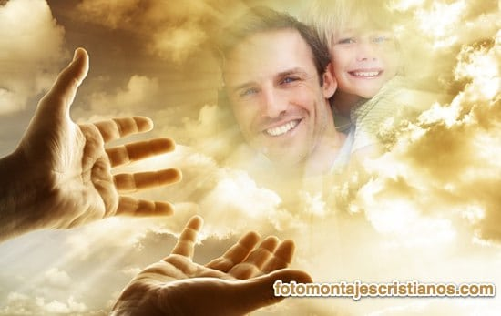 Fotomontaje cristiano con Dios en el cielo