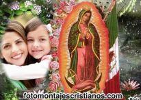 Hermoso fotomontaje con la virgencita de Guadalupe