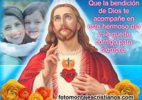 Fotomontaje de Jesús con frase de bendición