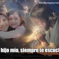 Fotomontaje con Jesús rezando y frase: Ora, hijo mío, siempre te escucharé