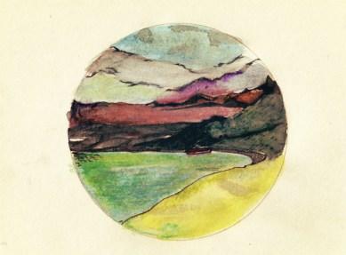 Bergmeer (pen, inkt en aquarelpotlood)