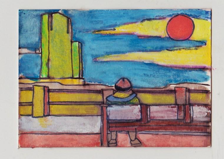 Man op bankje, schets van potlood. Gemaakt op de achterkant van een visitekaartje.