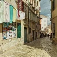Veli Trg na starym mieście w Rovinj, Chorwacja