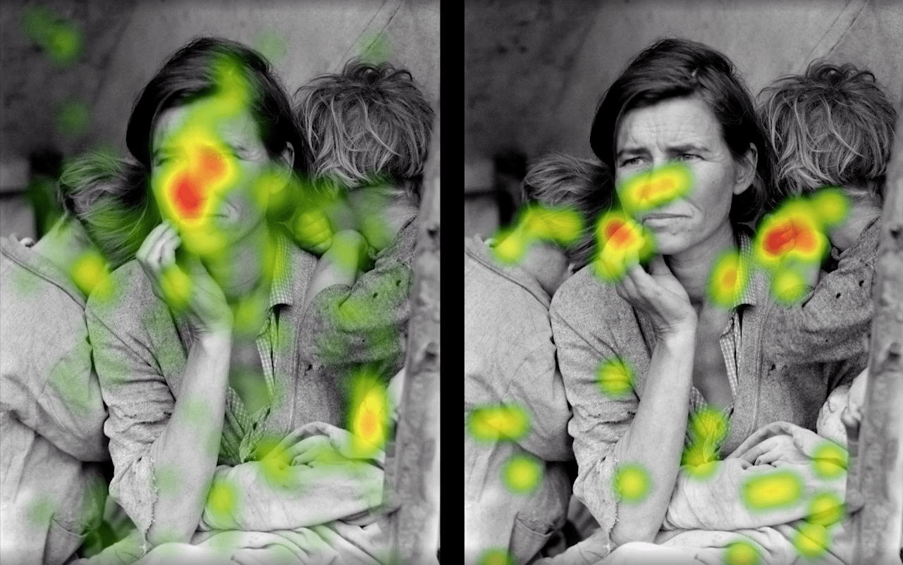 Eye-tracking heat map image