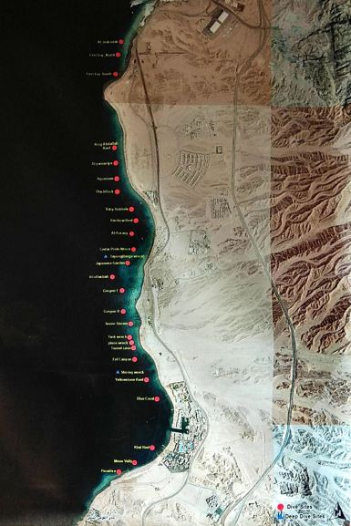 Akaba - mapa rejonów nurkowych