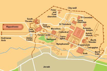 Jerash - mapa