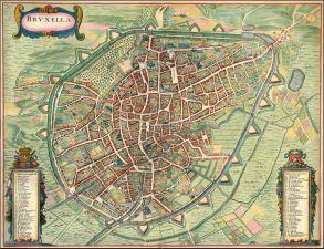 Bruksela centralna - mapa 1657 rok