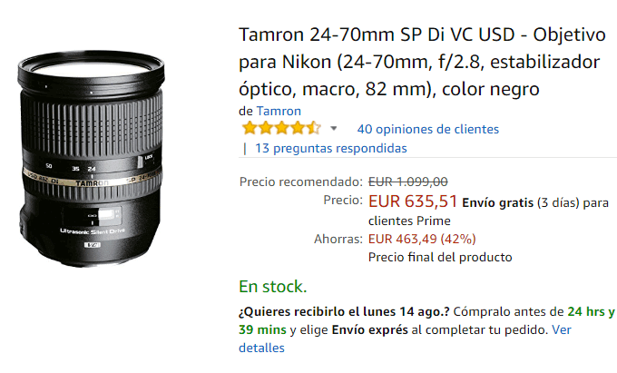Tamron 24-70mm para Nikon en Amazon