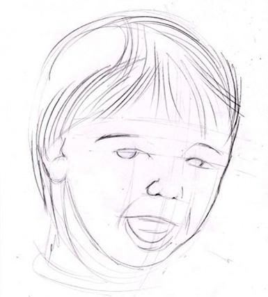 részletezi a gyermek arcát