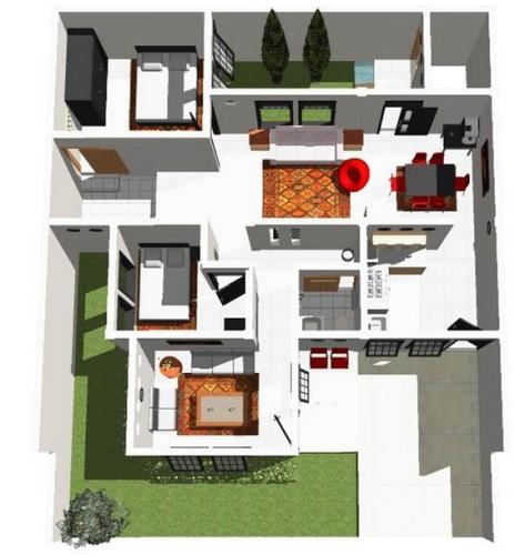 12 Denah Rumah Minimalis 1 Lantai Tipe 36 3d
