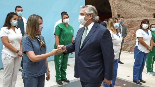 Alberto Fernández, en un acto con trabajadores de la salud en Casa Rosada