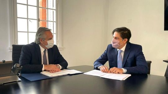 Alberto Fernández con el ministro de Educación, Nicolás Trotta