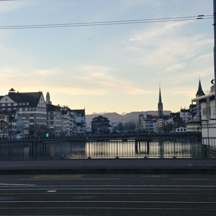 Early in the morning, the streets of Zürich are not crowded