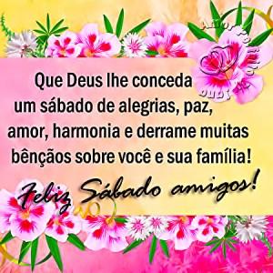 Bom dia a todos! Desejo um feliz sábado a para você e a toda sua família