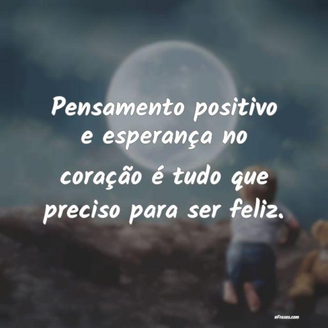 pensamento positivo e esperança no coração.
