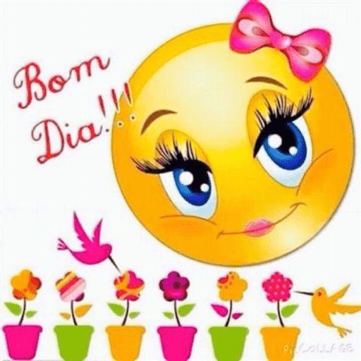 Emoji de bom dia com flores