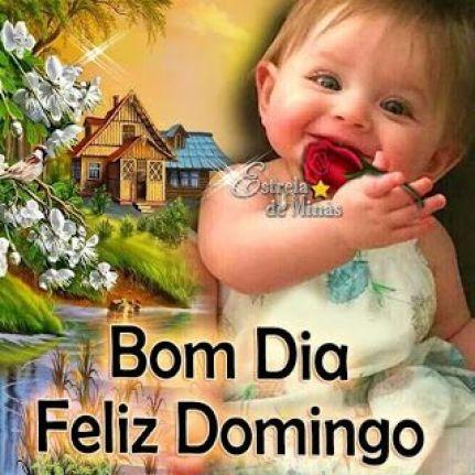 Bom dia e feliz domingo com sorriso de uma criança