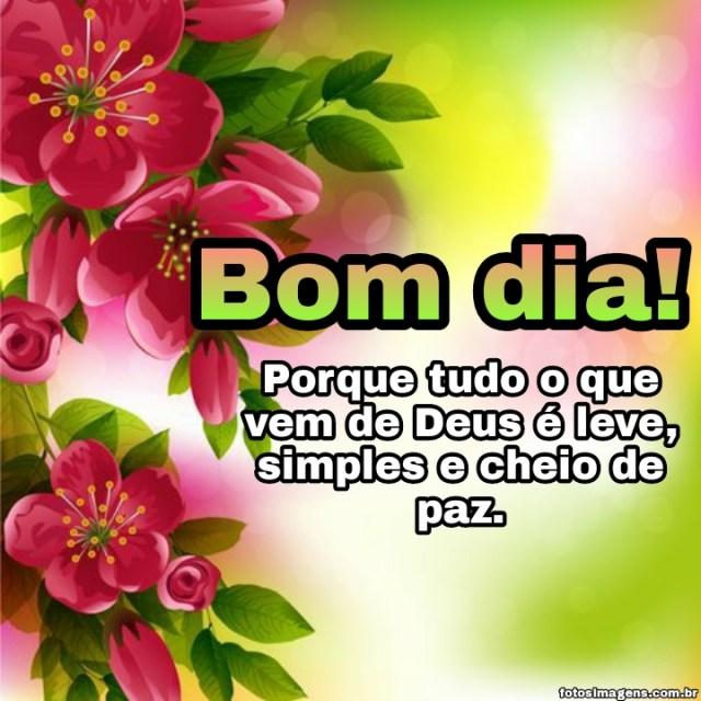 Bom dia tudo que vem de Deus é leve