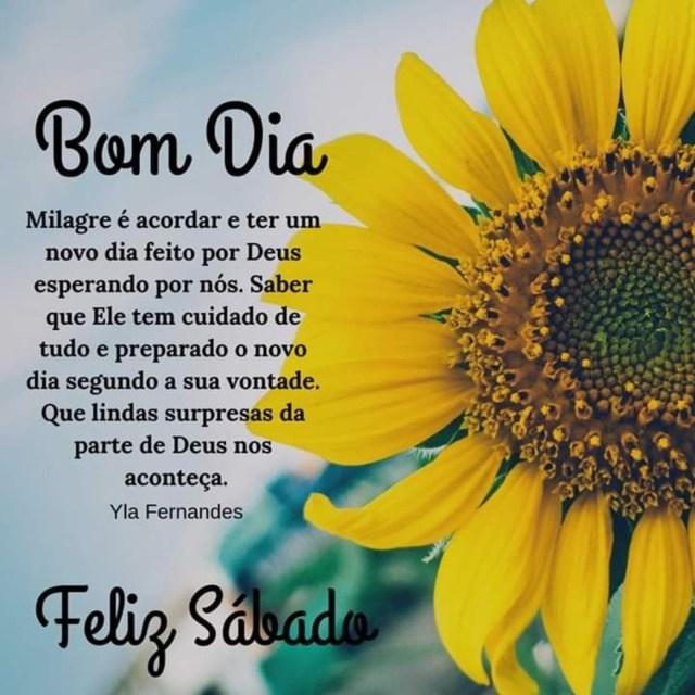 milagre é acorda e ter um novo dia feito por Deus bom dia sábado