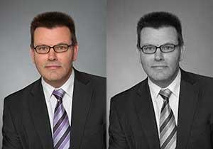 Vergleich Bewerbungsbild in Farbe und schwarz-weiß