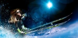 Fotostudio für Sportfotos in München: Fotomontage Skifahrerin