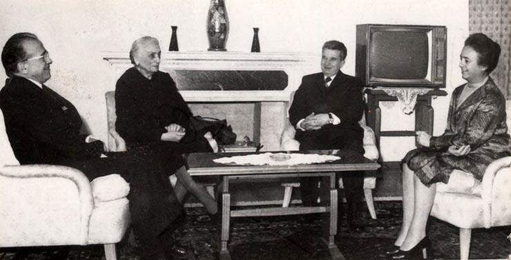 Preşedintele Nicolae Ceauşescu şi Elena Ceauşescu s-au întâlnit la Predeal cu Dolores Ibarruri şi Santiago Carrillo (3 ianuarie 1976).