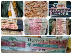 Duurzame reclameborden I Love Surifood foodtruck