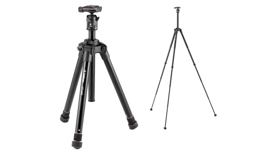 The Velbon UT-3AR travel tripod weighs just 787g including head