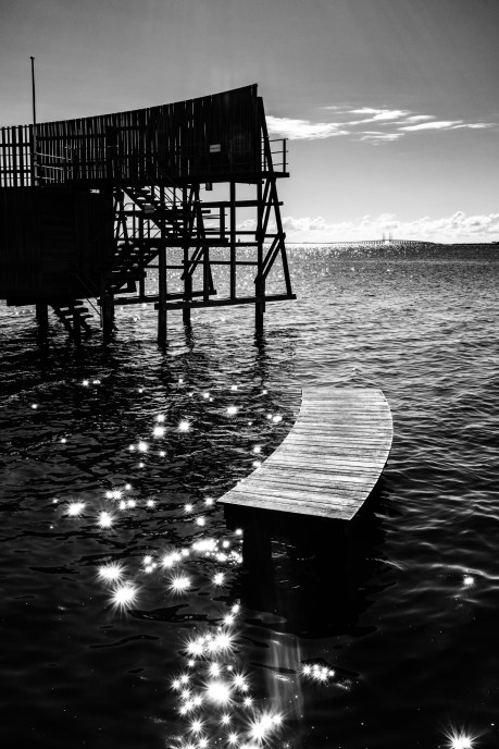 Reflections in the sea at Kastrup Open Sea Bath