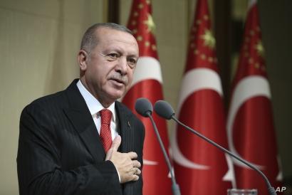 Turkish President Recep Tayyip Erdogan speaks during a reception on Republic Day, in Ankara, Turkey, Tuesday, Oct. 29, 2019…