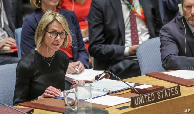 U.S. United Nations Ambassador Kelly Craft address the U.N. Security Council after a failed vote on a humanitarian draft…