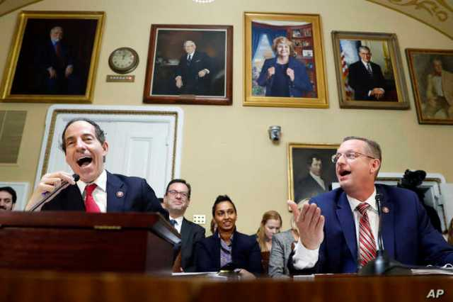 Rep. Jamie Raskin, D-Md., left, and House Judiciary Committee ranking member Rep. Doug Collins, R-Ga., speak during a House…