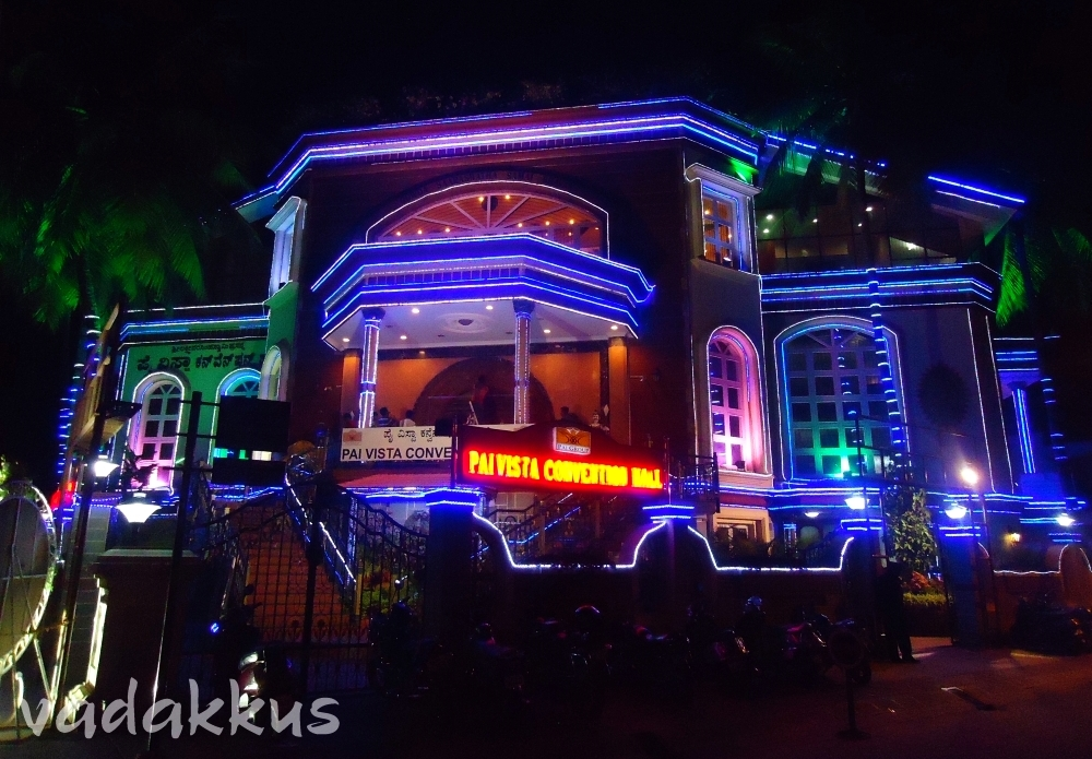 Image of Pai Vista Convention Hall lit up in colors, Basavangudi, Banglore