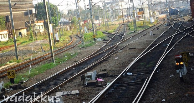 Picture of Railway Tracks at a railway station in India