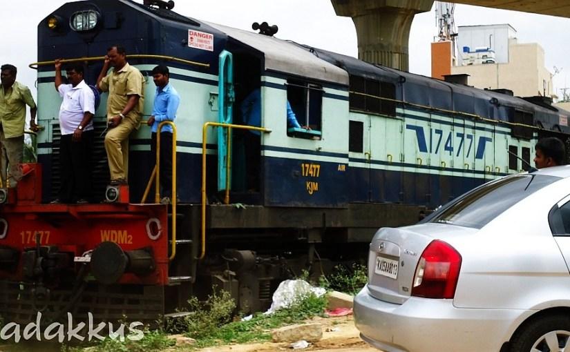 KJM WDM2 #17477 Waits to Cross Old Madras Road
