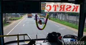 View through the front windshield inside a KSRTC Superfast bus