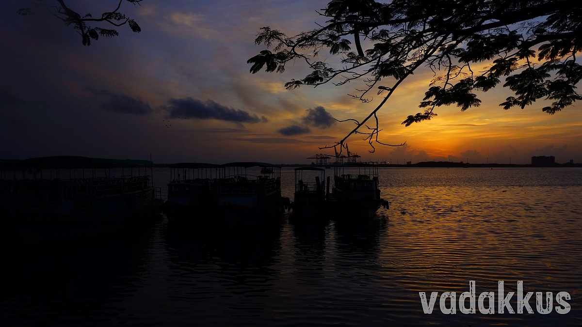 Sunset at Marine Drive Lake shore Kochi Kerala