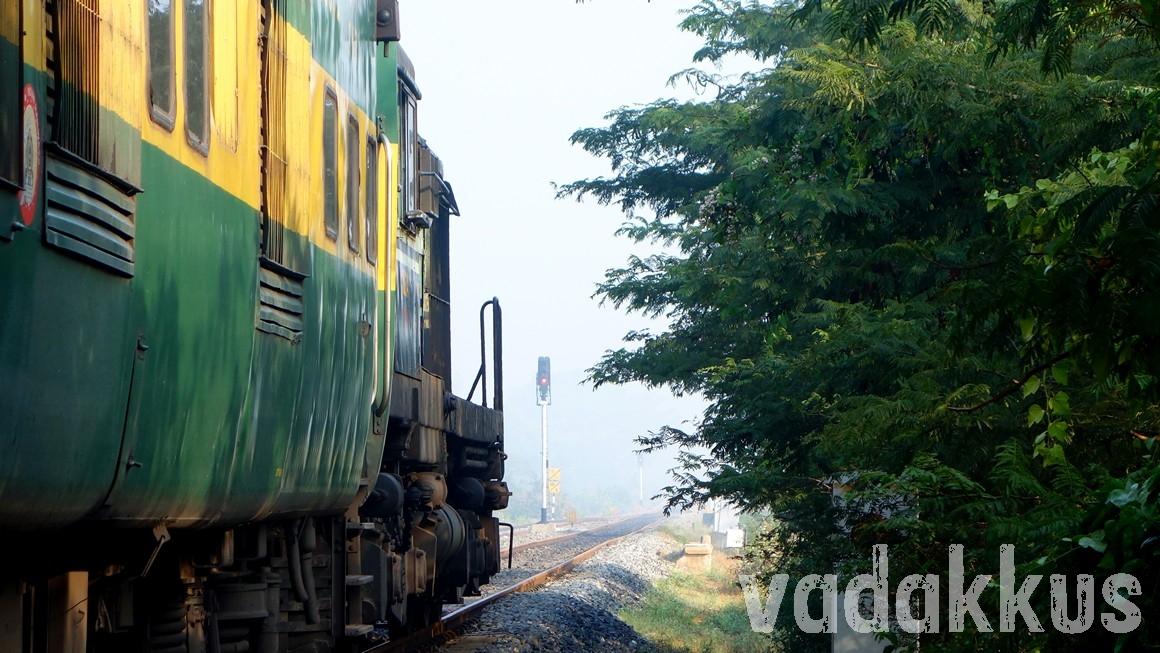 Garib Rath Express train seen through fog