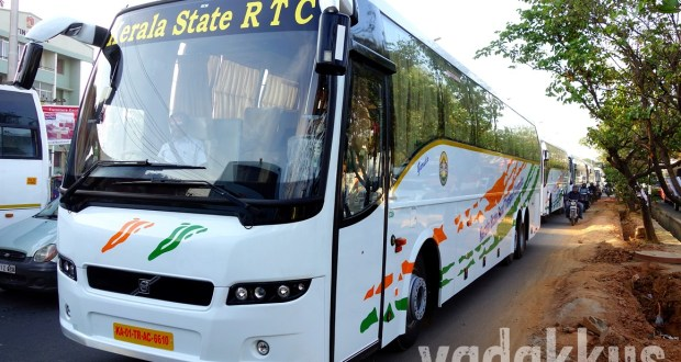 Picture of Kerala KSRTC new Volvo B9R Multi Axle Buses in a Row on the road