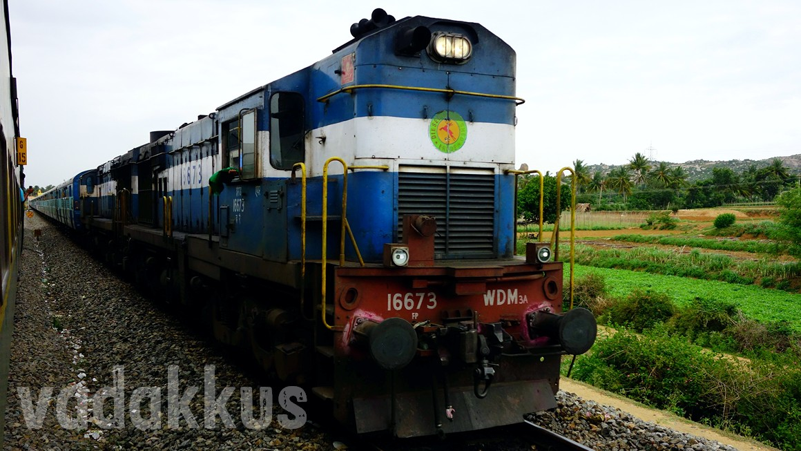 Twin ALCo Diesel engines haul the Bangalore - Ernakulam Intercity Express
