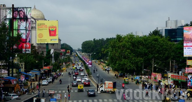 View of Old Madras Road towards Gopalan Mall from TIn Factory Railway overbridge
