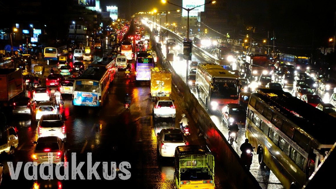 Traffic Jam on a rainy night at Tin Factory junction in Bangalore