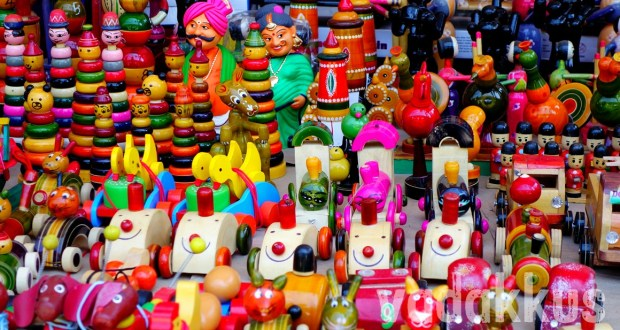 Colorful Channapatna Lacquer Toys on display at MG Road Bangalore