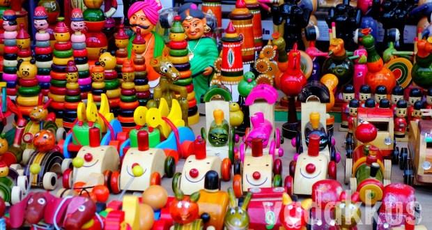Colorful Channapatna Lacquer Toys on display at MG Road Bangalore