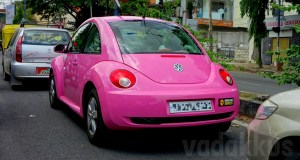 A Pink Color New Model Volkswagen Beetle car spotted in Bangalore