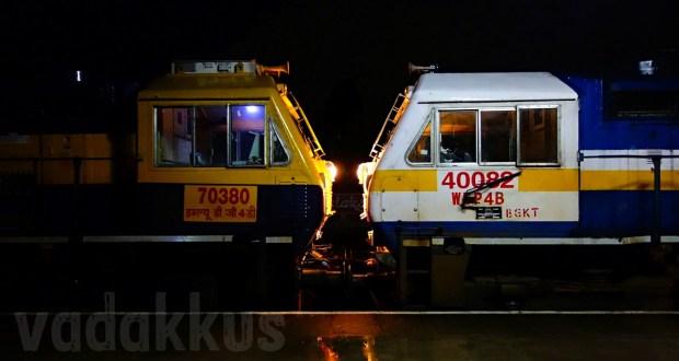 Rare occurance when a Dual-Cab Goods loco WDG4D and a Passenger Loco WDP4B hauled an Express Train