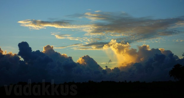 Sunset and live raining cloud bank in Kerala