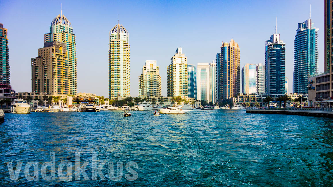 The Dubai Marina at the outlet towards the Palm Jumeirah