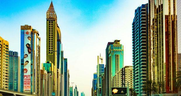 Photo of the towers lining Dubai's glittering new financial district on the Sheikh Zayed Road.
